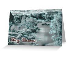 Merry Christmas happy holidays card with christmas snow scene Greeting Card