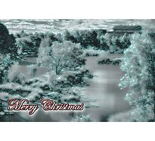 Merry Christmas happy holidays card with christmas snow scene Photographic Print