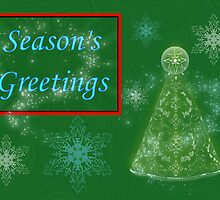 Merry Christmas Season's greetings card with christmas tree by Cheryl Hall