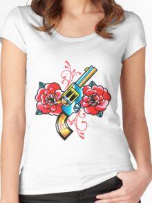 Gun and Roses Tattoo Flash Women's Fitted Scoop T-Shirt