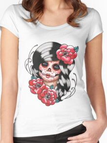 Day of the Dead Sugar Skull Girl Tattoo Flash Shirt Women's Fitted Scoop T-Shirt