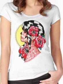 Dia De Los Muertos Sugar Skull Girl Tattoo Flash  Women's Fitted Scoop T-Shirt