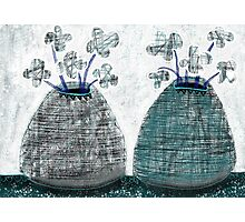 Twin Lined Mono Flower Vases - Beatrice Ajayi Photographic Print