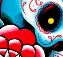 Old School Sugar Skull and Rose Tattoo Flash Sticker