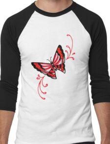 Old School Butterfly Tattoo Flash Men's Baseball ¾ T-Shirt
