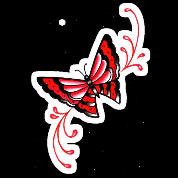 Old School Butterfly Tattoo Flash by MissCarissaRose