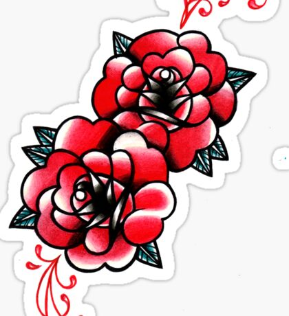Traditional Rose Tattoo Flash Design Sticker