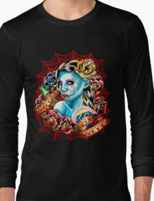 Live Fast Die Pretty Zombie Tattoo Flash Long Sleeve T-Shirt