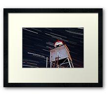 Harbor Light Startrails Framed Print