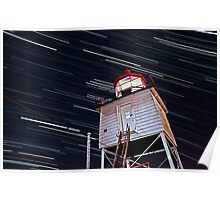 Harbor Light Startrails Poster