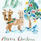 Reindeer and Christmas trees by Anne van Alkemade