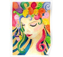Rainbow Hair Girl Poster