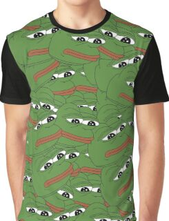 PEPE ALLOVER PATTERN SAD FROG MEME Graphic T-Shirt