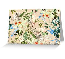 Hibiscus, Orchid, Rosebuds - White Blue Green Greeting Card