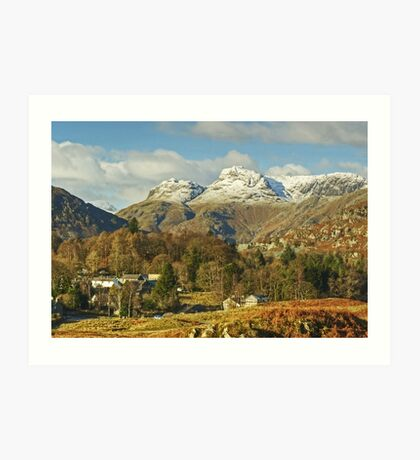 Elterwater Village And The Langdale Pikes Revisited Art Print
