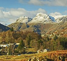 Elterwater Village And The Langdale Pikes Revisited by Jamie  Green