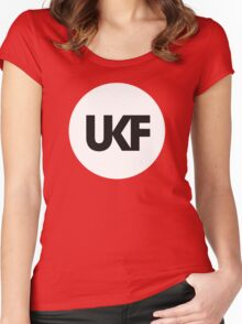 UKF-White and Black Women's Fitted Scoop T-Shirt