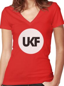 UKF-White and Black Women's Fitted V-Neck T-Shirt