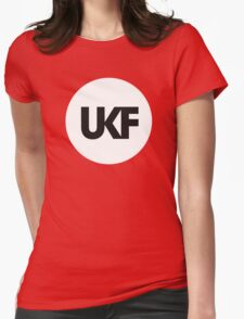 UKF-White and Black Womens Fitted T-Shirt