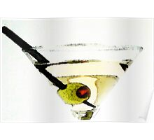 Martini With Green Olive Poster