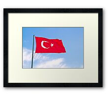 Turkish Flag Flapping In The Wind Framed Print
