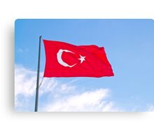 Turkish Flag Flapping In The Wind Canvas Print