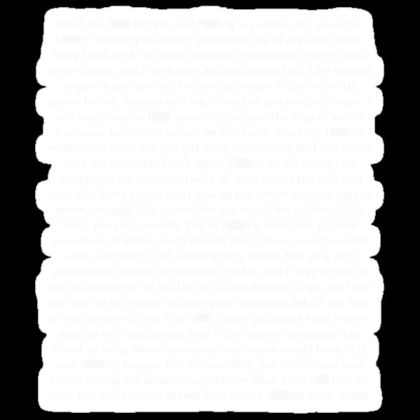 Gorilla Warfare (Navy SEAL copypasta in White) by ScaleJack
