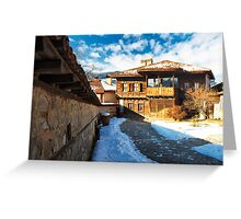 winter beauty of wood house Greeting Card