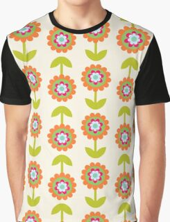 Retro Flowers, Petals, Leaves - Orange Green Pink Graphic T-Shirt
