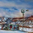 Snowy Windmill - Kayenta, Arizona  by Mary Warner