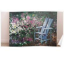 A chair of a garden in California oil painting Poster