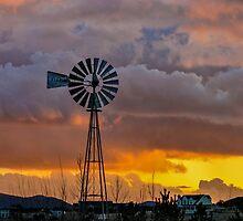 Windmill at Sunset - Chino Valley, Arizona by Mary Warner