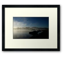 Foggy Dawn Lake Moogerah Framed Print