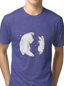 Polar Bear and Cub, taking a swim. Tri-blend T-Shirt