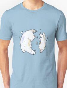Polar Bear and Cub, taking a swim. Unisex T-Shirt