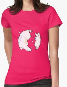 Polar Bear and Cub, taking a swim. Womens Fitted T-Shirt