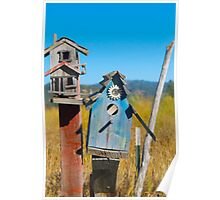 Blue and Red Birdhouses  Poster