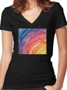 Rainbow Pattern Women's Fitted V-Neck T-Shirt