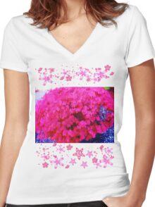 Fuschia bush Women's Fitted V-Neck T-Shirt