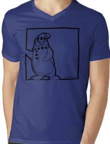 Penguin Black Mens V-Neck T-Shirt