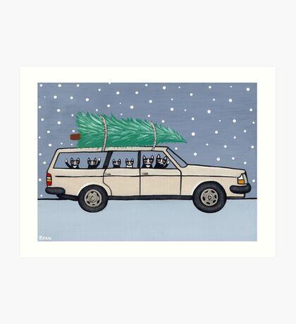 Christmas Tree Cats Art Print