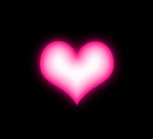 Shiny pink heart on black background by CatchyLittleArt