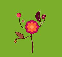 Orange and pink blossom on green background by CatchyLittleArt
