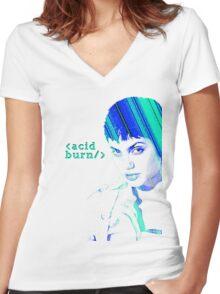 Acid Burn Women's Fitted V-Neck T-Shirt