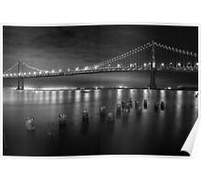 San Francisco Bay Bridge at Night Poster