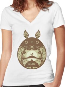 Totoro time Women's Fitted V-Neck T-Shirt