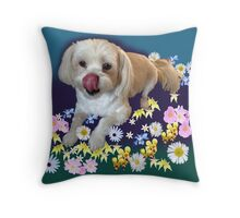 Doggy in the Garden Throw Pillow