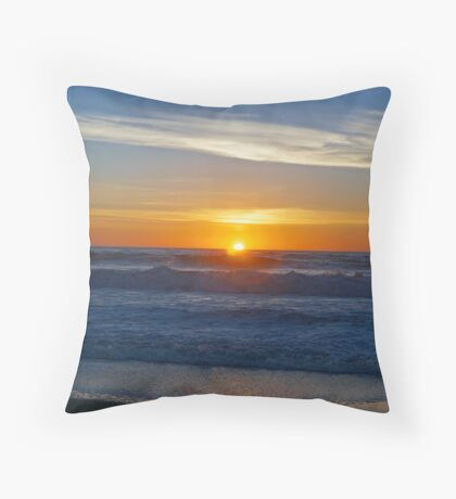A sunset on the beach at Cambria, Ca. Throw Pillow