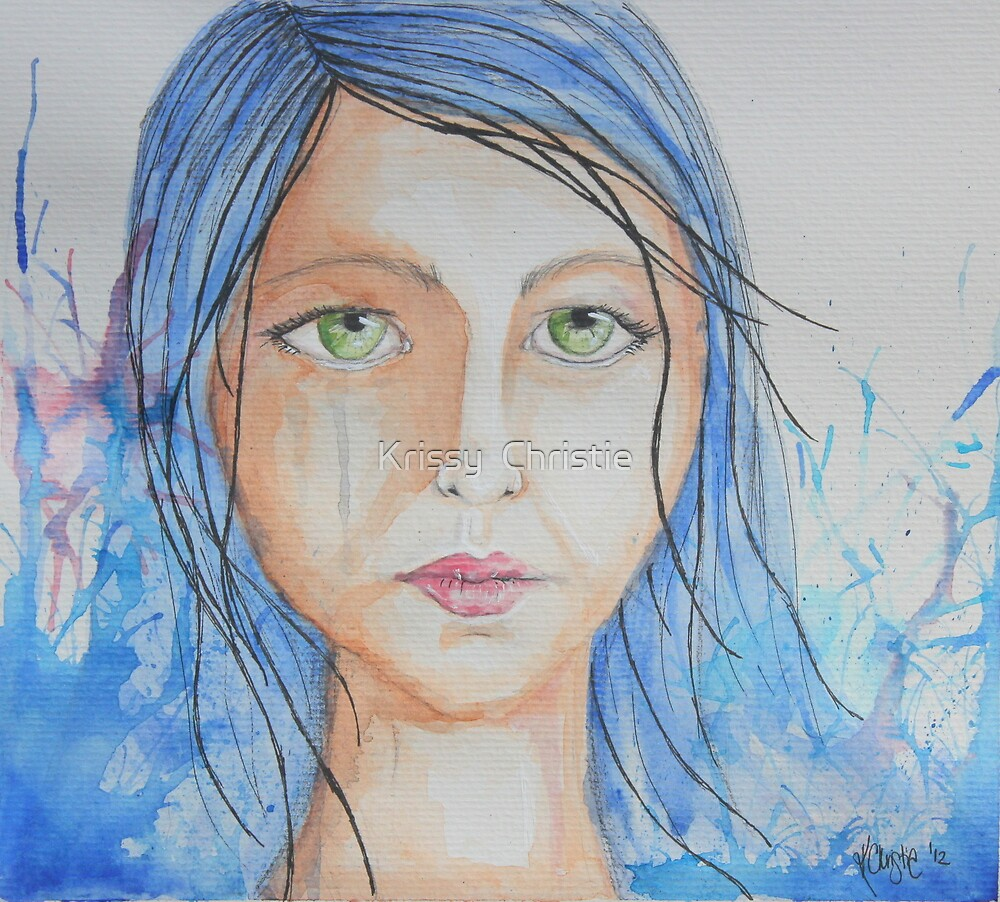 Blue hair girl by Krissy  Christie