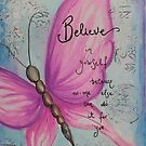 Pink butterfly painting by Krissy  Christie